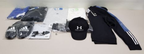 10 PIECE CLOTHING LOT CONTAINING AN UNDER ARMOUR HAT, ADIDAS SLIDERS, UNDER ARMOUR T SHIRT AND AN