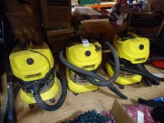 3 X (KARCHER) WD4 COMMERCIAL VACUUM CLEANERS *NOTE - ON EUROPEAN PLUGS