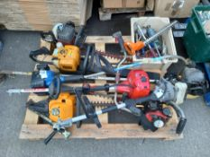 1 X PALLET CONTAINING MIXED TOOLS TO INCLUDE - 4 X MIXED PETROL HEDGE STRIMMERS, 3 X PETROL HEDGE