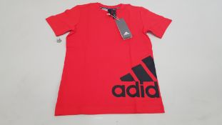 19 X BRAND NEW ADIDAS RED T SHIRTS SIZE 7-8 YEARS