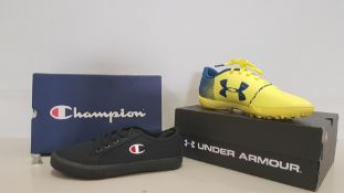 7 PIECE TRAINER LOT CONTAINING 5 X UNDER ARMOUR SPOT LIGHT TF JUNIOR TRAINERS SIZE 5.5 AND 6 AND 2 X