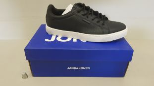 5 X BRAND NEW JACK & JONES TRENT PU ANTHRACITE 19 NOOSE TRAINERS IN BLACK AND WHITE UK SIZE 6.5