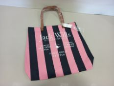 24 X BRAND NEW JACK WILLS EASTLEIGH TOTE BAGS IN PINK / BLACK STRIPE WITH SWING TICKETS RRP £19.95