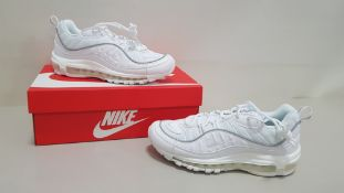 4 X BRAND NEW WOMENS WHITE NIKE AIR MAX 98S ITEM CODE - PAFCM PAUHD UK SIZE 8