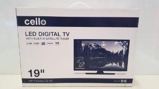 1 X BRAND NEW 19 CELLO LED DIGITAL TV WITH BUILT IN SATELITE TUNER.