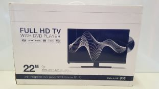 1 X BRAND NEW BOXED 22 FERGUSON FULL HD TV WITH DVD PLAYER AND SATELLITE TUNER INCLUDED.