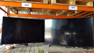 2 PIECE TV LOT CONTAINING 1 X HITACHI 55 AND 1 X 55 SAMSUNG TV (PLEASE NOTE BOTH TVS HAVE CRACKED