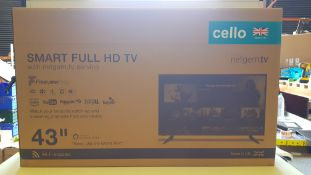 1 X BRAND NEW BOXED 43 CELLO SMART FULL HD TV WITH NETGEM.TV SERVICE
