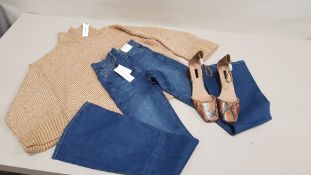 10 PIECE MIXED TOPSHOP CLOTHING LOT CONTAINING JAMIE HIGH WAISTED STRETCH FLARE JEANS, CREWNECK