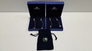 3 PIECE SWAROVSKI LOT CONTAINING 2 X EARRINGS AND 1 X FLOWER STONE