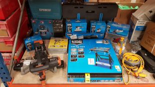 14 PIECE ASSORTED TOOL RETURNS LOT IE ANGLE GRINDER, VICE BENCH, TABLE SAW, SANDER, HEAT GUN, ROUTER