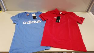 10 PIECE MIXED ADIDAS KIDS CLOTHING LOT CONTAINING 6 X BLUE T SHIRTS AND 4 X RED POLO SHIRTS IN