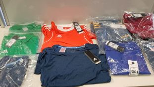 11 PIECE MIXED ADIDAS KIDS CLOTHING LOT CONTAINING POLO SHIRTS AND T SHIRTS IN VARIOUS STYLES AND