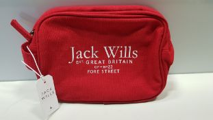 8 X BRAND NEW JACK WILLS LOUGHTON COTTON CANVAS RED TOILETRY BAGS RRP £24.95 (TOTAL RRP £199.60)