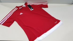 9 X BRAND NEW ADIDAS KIDS RED AND WHITE STRIPED JERSEY AGE 11-12 AND 13-14 (MAINLY 11-12)
