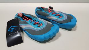 30 X BRAND NEW G FORCE BLUE/ CORAL AQUA SHOES IN VARIOUS SIZES IE JUNIOR 11, J3 AND JUNIOR 13 ETC