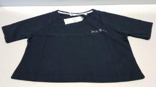 20 X BRAND NEW JACK WILLS LOWTON BLACK CROP T SHIRTS UK SIZE 10 RRP £26.95 (TOTAL RRP £539.00)