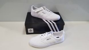 6 X BRAND NEW ADIDAS ORIGINALS TRIPLE WHITE 3MC TRAINERS UK SIZE 7.5 (PLEASE NOTE SOME SHOES ARE