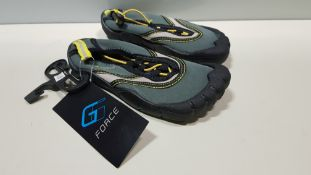 30 X BRAND NEW G FORCE BLACK/ YELLOW AQUA SHOES SIZE JUNIOR 12 AND 10 (26 X SIZE 12 AND 4 X SIZE