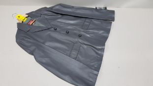 1 X BRAND NEW ITALIAN COLLECTION GREY 100% LEATHER BUTTONED JACKET SIZE MEDIUM
