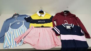 30 PIECE MIXED JACK WILLS MENS CLOTHING LOT CONTAINING TOPS, JUMPERS, POLO SHIRTS AND VESTS ETC