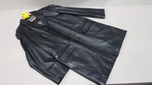 1 X BRAND NEW VALI DESIGN REAL LEATHER LONG BLACK JACKET RRP £479.00
