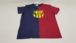 20 X BRAND NEW BARCA STORE OFFICIAL MERCHANDISE FC BARCELONA NAVY AND BURGUNDY SHORT SLEEVED TOPS
