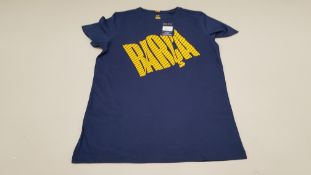 20 X BRAND NEW BARCA STORE OFFICIAL MERCHANDISE FC BARCELONA NAVY SHORT SLEEVED TOPS SIZE XS -