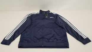 10 X BRAND NEW ADIDAS WHITE AND NAVY TRACKSUIT TOPS IN SIZE 5XL