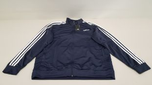 10 X BRAND NEW ADIDAS WHITE AND NAVY TRACKSUIT TOPS IN SIZE 3XL