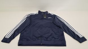 5 X BRAND NEW ADIDAS WHITE AND NAVY TRACKSUIT TOPS IN SIZE 3XL