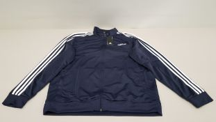 10 X BRAND NEW ADIDAS WHITE AND NAVY TRACKSUIT TOPS IN SIZE 4 XL