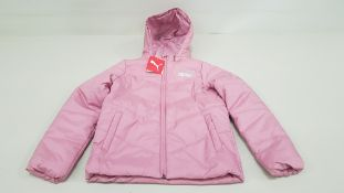 6 X BRAND NEW PUMA WATER REPELENT PINK HOODED PUFFER JACKETS AGE 9-10 YEARS