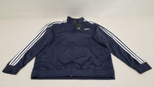 10 X BRAND NEW ADIDAS WHITE AND NAVY TRACKSUIT TOPS IN SIZE 2XL