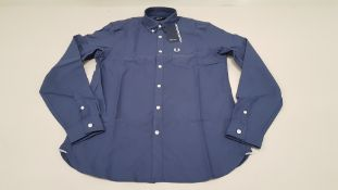 12 X BRAND NEW FRED PERRY CLASSIC OXFORD NAVY LONG SLEEVED SHIRTS 4 X SIZE EXTRA LARGE AND 8 X