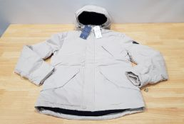 2 X BRAND NEW JACK WILLS HATFIELD NYLON JACKETS IN STONE WITH DUCK DOWN FEATHERS SIZE LARGE RRP £
