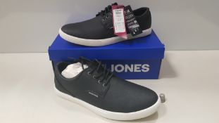 7 X BRAND NEW JACK & JONES ANTHRACITE TRAINERS UK SIZE 8 RRP £35.00 (TOTAL RRP £245.00)