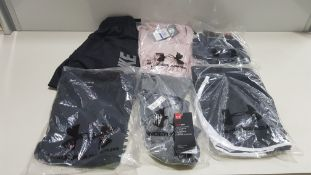 19 PIECE MIXED SPORTS CLOTHING LOT CONTAINING NIKE SHORTS, SPORTS BRAS, UNDER ARMOUR T SHIRTS,