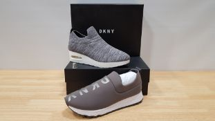 4 PIECE MIXED DKNY TRAINER LOT CONTAINING 2 X ANJI WEDGE SNEAKERS AND 2 X JADYN SLIP ON JOGGING