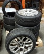 7 PIECE LOT CONTAINING 4 X BMW 19 ALLOYS WITH TRYES AND 3 X SPARE TYRES - ON ONE PALLET