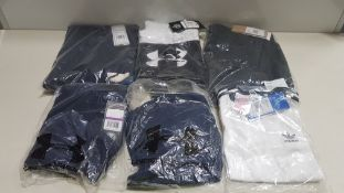 18 PIECE MIXED SPORTS LOT CONTAINING UNDER ARMOUR SHORTS, ADIDAS SHORTS, UNDER ARMOUR T SHIRT,