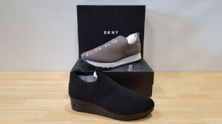 4 X BRAND NEW DKNY TRAINERS IE 1 X JADYN SLIP ON JOGGING TRAINERS AND 3 X ANJI SLIP ON WEDGED