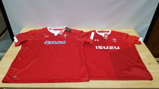 7 X BRAND NEW UNDER ARMOUR WALES RUGBY UNION OFFICIAL PRODUCT JERSEYS SIZE 4XL AND XL (MAINLY XL)