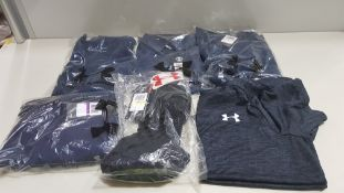 17 PIECE MIXED UNDER ARMOUR CLOTHING LOT CONTAINING JOGGING BOTTOMS, T SHIRTS, SHORTS, GYM 1/4 ZIP