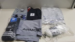 18 PIECE MIXED SPORTS CLOTHING LOT CONTAINING NIKE BARCELONA JACKET, ADIDAS HAT, UNDER ARMOUR T