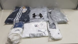 16 PIECE MIXED SPORTS CLOTHING LOT CONTAINING REEBOK JACKET, UNDER ARMOUR HOODED JUMPER, ADIDAS
