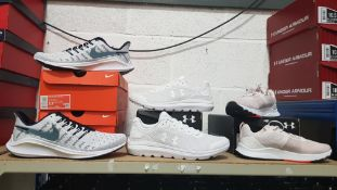 4 PIECE MIXED SPORTS TRAINER LOT CONTAINING 2 X NIKE AIR ZOOM TRAINERS, 1 X UNDER ARMOUR SURGE 2
