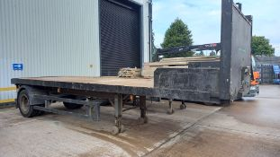 TRAILERFAB 25' SINGLE AXLE TRAILER WITH METAL BED. 1995, 19,000 SWL NO TEST