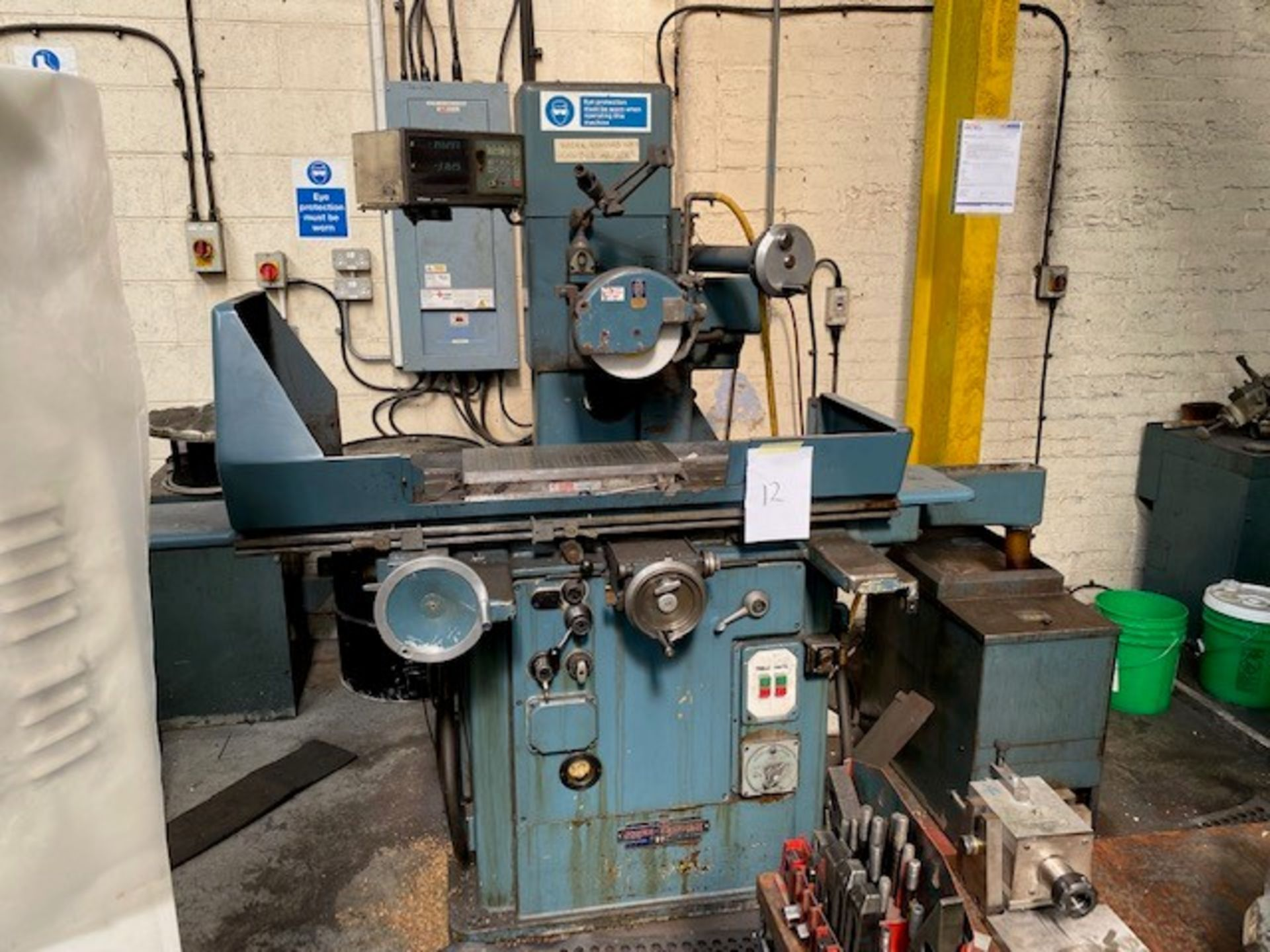 JONES AND SHIPMAN HORIZONTAL SPINDLE SURFACE GRINDING MACHINE WITH MAGNETIC BED AND MITUTOYO MEASURE