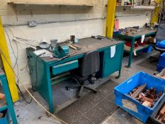 3M WIDE RECTANGULAR WORK STATION WITH VICE